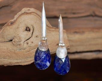 Handmade Sterling Silver Earrings Blue Saphire