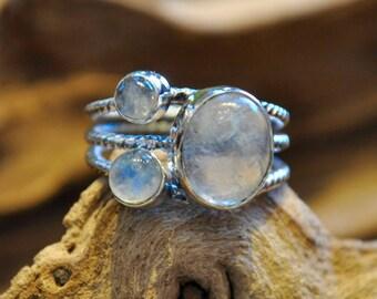 Bohemian Handmade Sterling Silver Ring Moonstone 8