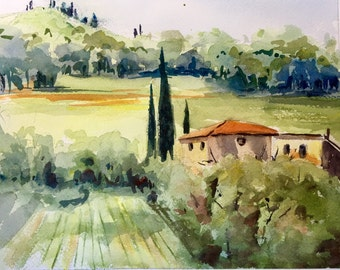 Provence Countryside landscape France watercolor original painting
