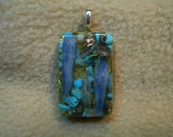 Blue Kyanite, Turquoise, Selenite, Pyrite, Herkimer Diamond, Rhodizite Positive Energy Pendant 4045