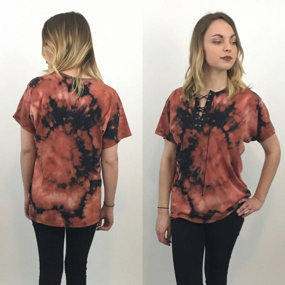 Remade Vintage Lace Up Tee Medium - 90's Tiedye Laced Grunge Shirt M - Slouchy Baggy Bleach Tiedye Oversized Laceup Distressed Cotton Tshirt