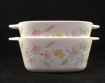 Set of 2 Pastel Bouquet Small Corning Ware Casseroles, P-43-B, Microwave and Stove Top Safe