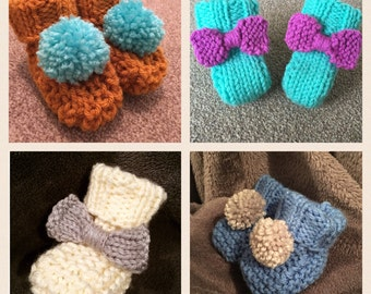 Handknit Chunky Baby Booties - made to order in preemie, newborn, 0-6 months & 6-12 months - lots of colours combinations available!