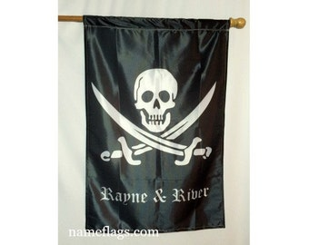 Personalized Pirate Flag, Garden or House Flag, Jolly Roger