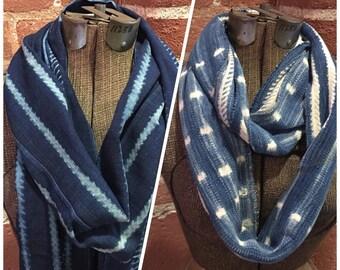 African Indigo Cloth Scarf--Indigo Mudcloth Scarf--Blue Fringed Scarf--Blue Infinity Scarf