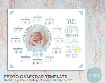 2017 Calendar 2018 Calendar and Financial Year Photo Calendar - Photoshop template - GG002 - INSTANT DOWNLOAD