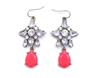 Red Crystal Tear Drop Earrings Chunky Rhinestone Earrings Statement Earrings