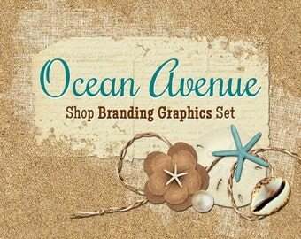 Beach Shop Branding Banners, Avatar Icons, Business Card, Logo Label + More - 12 Premade Graphics Files - OCEAN AVENUE