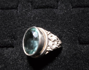 Ring, Aquamarine, sterling silver, size 9