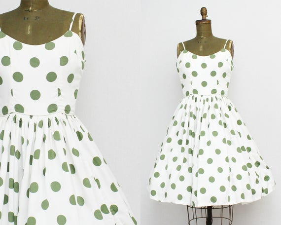 50s Cotton Polka Dot Dress - Size Small Vintage 1950s Fit and Flare Day Dress