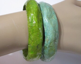 Seafoam and Spring Green Lot of Two Plastic Molded Mache' Composition Bumpy Light Bangle Bracelets Pair