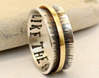 Personalized Sterling Silver Ring - Wedding Band - Promise Ring - Handmade, hammered - Custom Engraved Engagement Ring