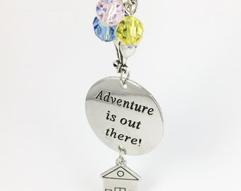 """Movie Up theme hand stamped """"adventure is out there"""" necklace"""