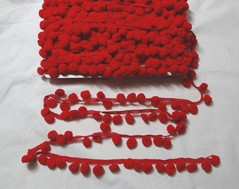 "Regular 5/8"" inch Pom Pom Trim Choose Your Color- 3 yards"