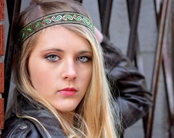 Black Gold Green Boho Headband - Forehead Headband - Bohemian Gypsy Headbands - Hippie Headband - Tribal Patterned Head Wrap