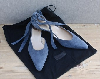 Dries Van Noten Belgium blue suede shoes, kitten heel ankle tie shoes, all leather, 1990's fashion, made in Italy, new never worn, EU size37