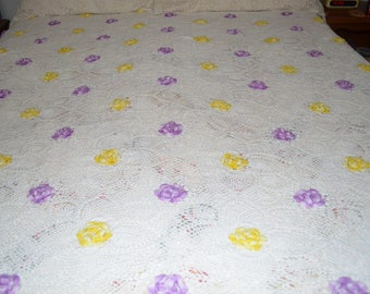 A Lovely Vintage Hand Chroched Raised Yellow And Purple Flower Queen Covet Spread