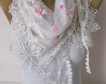 Fashion scarf-Elegant womens Scarf-Cowl with Lace Edge -Fashion accessories-christmas gift for her-scarves-Shawls for her