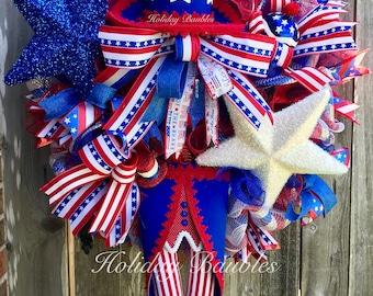Uncle Sam Wreath, Patriotic Wreath, 4th of July Wreath, Patriotic Decor, Uncle Sam Decor, USA Wreath, USA Decor, Uncle Sam