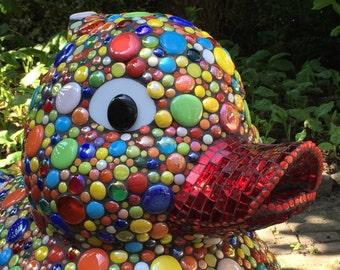 VERKOCHT hele grote badeend, mozaiek object, artistieke badeend, glasmozaiek mosaics rubber duck  mosaic art object