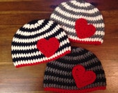 Adult Striped Beanie with Heart