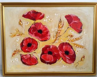 Flowers Acrylic Painting, Wall Art, Home Decor, Painting on canvas, Flowers Painting, Poppies, Acrylic colours, Unique Paintings, Gold Frame