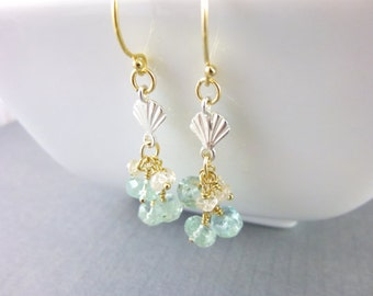 Moss Aquamarine Chakra Earrings, Art Deco Style, Spinel & Moss Aquamarine, Throat Chakra, Healing Energy Jewelry, Chakra Crystals