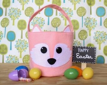 Monogrammed Fox Easter Basket Felt Woodland