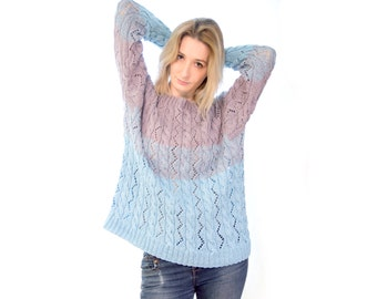 """Knitted pullover """"Spring Sky"""""""