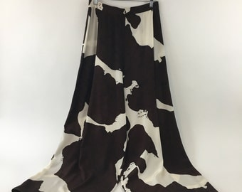High Waisted Abstract Brown and White Palazzo Pants