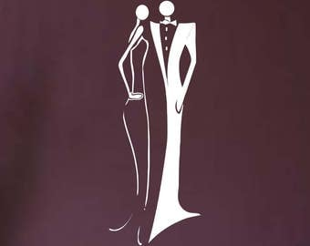 Roaring Twenties Couple... Vinyl Wall Decal Chic Man Woman Sticker Art Dancing Stylish
