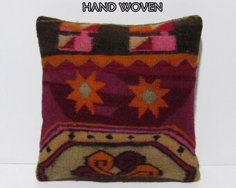 ancient kilim pillow 18x18 symmetrical decorative pillow handcuffing throw pillow furniture cushion throw pillowcase boho decor pillow C1329
