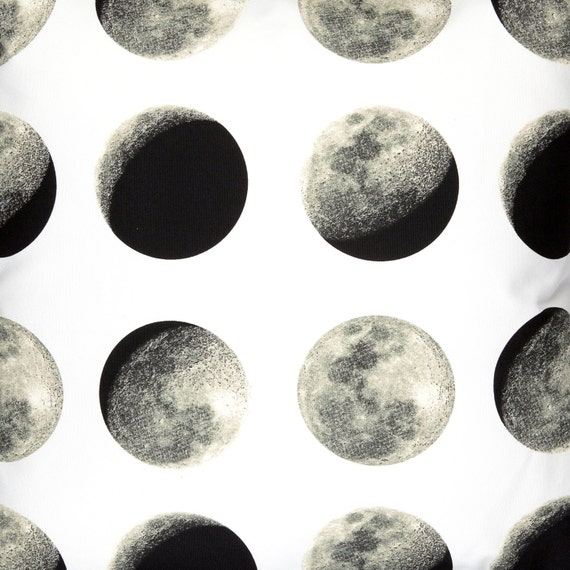 Lunar moon fabric by the metre moon phase fabric full moon for Outer space fabric uk