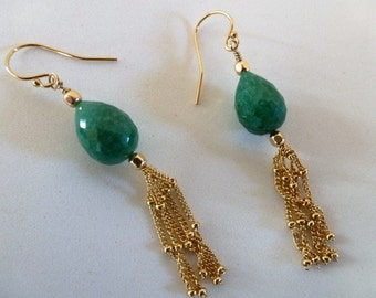Ropada Fringe Earrings - plump faceted green Ropada gems, trailing golden fringes - bold and dressy swingers!