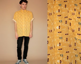 80's vintage men's yellow patterned shirt