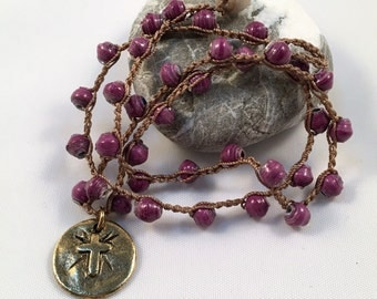 Purple Boho Crochet Necklace With Gold Coin Cross Pendant