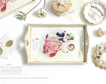 Dollhouse Miniature Accessories - Shabby Vintage Beige/ Creamy Wooden Tray - A Greeting to my Valentine