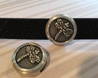 13mm Flat Dragonfly Antique Silver Zamak Slider, leather bracelet diy jewelry supplies