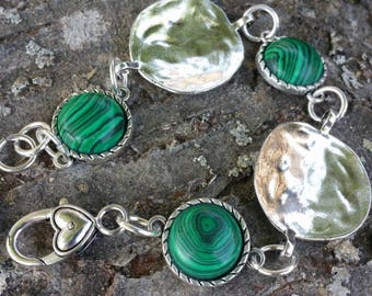 Silver plated bracelet with genuine malachite stone of protection