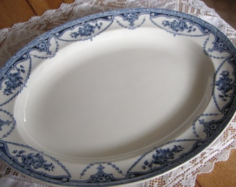 Flow Blue English China Platter, Serving Plate Blue Transfer