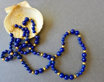"Beautiful Vintage Lapis and Yellow Gold Bead Necklace / 30"" / 14K clasp"