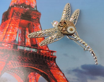 "Steampunk jewelry. Brooch ""Extraterrestrial Dragonfly""."