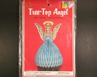 Vintage Unused BEISTLE Honeycomb Tissue Paper Christmas Angel Centerpiece Tree Topper, New in Package
