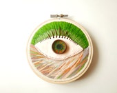 3D hand stitched embroidery with cotton thread and polymer clay and resin (4')
