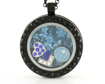 Black/Gunmetal Circle Floating Locket w/ Choice of 6 Charms