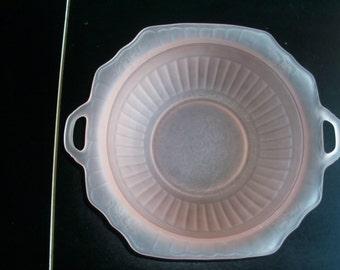 Pink Satin Glass Floral Design Handled Bowl