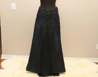 New GAP dark wash denim maxi skirt size 8