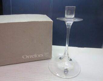 Vintage - Orrefors Sweden - Crystal Glass Candle Stick Holder