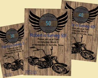 5x7 Vintage Dude 30th/40th/50th/60th/70th Birthday Invitation