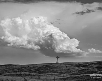 Black-and-White Art, Windmill On Hill, Landscape Nebraska, Cloud Black-And-White, Nature Nebraska, Fine Art Nebraska, Windmill Picture